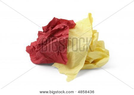 Piece Of Yellow And Red Toilet Paper