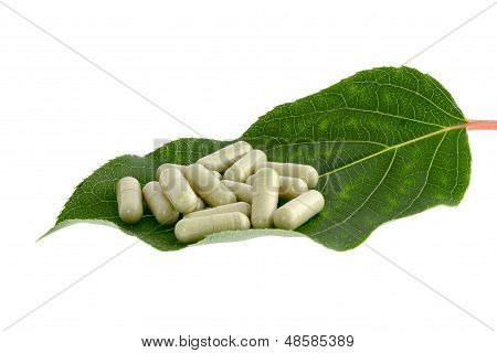 Pills On Green Leaf