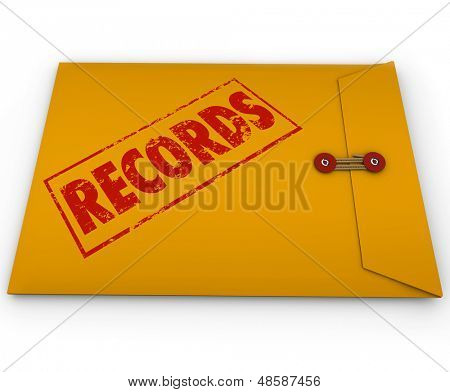 The word Records on a yellow envelope containing confidential documents and information