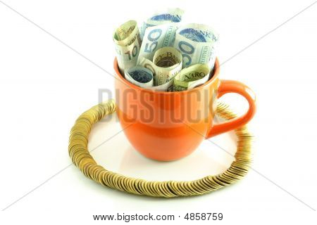 Polish Banknotes In Cup