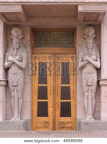 entrance door to the Egyptian style
