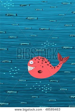 Pink Whale and Fish Underwater Cartoon Background