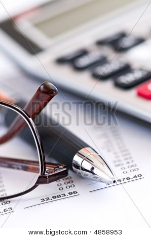 Tax Calculator Pen And Glasses