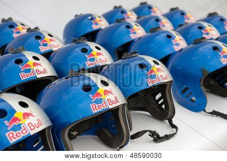MOSCOW - JULY 28: Helmets for participants on Red Bull Flugtag on July 28, 2013 in Moscow. Red Bull Flugtag is an event in which competitors attempt to fly homemade human-powered flying machines
