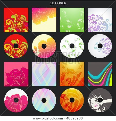 Vector set: Colorful CD cover