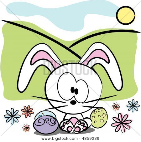 Vector Cute Easter Bunny With Decorated Eggs