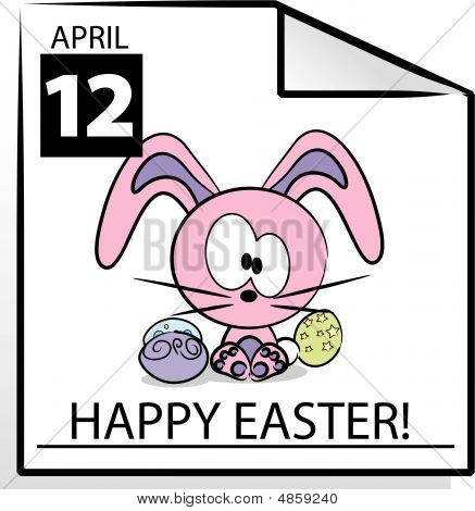 Vector Happy Easter Calendar Page