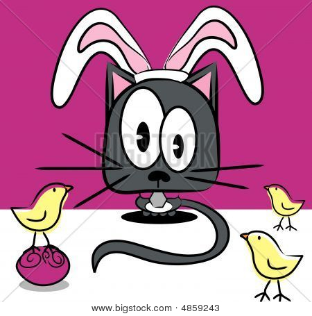 Vector Holiday Easter Cat And Chicks