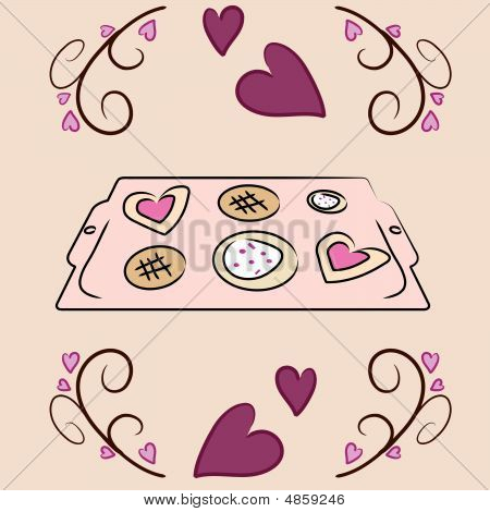 Valentine's Day Cookie Sheet Vector