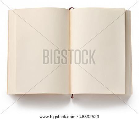 opened blank paperback with bookmark isolated on white background