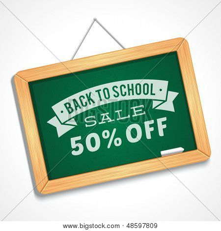 Back to school sale message on blackboard hand draw vector illustration