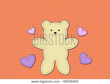 Teddy Bear Graphic Board Orange Background