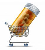 stock photo of pharmaceuticals  - Buying medicine from a pharmacy or online retailer medication concept with a shopping cart carrying a prescription pill bottle as a symbol of choosing the best choice and the pharmaceutical industry or drug insurance market - JPG
