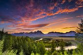 Image of summer sunset at snake river overlook.