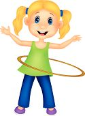 image of hulahoop  - Vector illustration of Cute cartoon girl twirling hula hoop - JPG