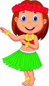 foto of hula dancer  - Vector illustration of Little Hula Girl cartoon - JPG