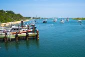 pic of cod  - Boats are moored in a bay near the Chatham Fish Pier MA on Cape Cod - JPG