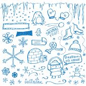 stock photo of igloo  - Winter Doodles - JPG