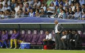 MALAGA, SPAIN. 19/09/2010.  The Malaga team bench, during the La Liga match between CF Malaga and Se