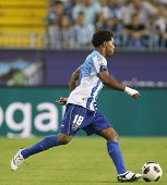 MALAGA, SPAIN. 19/09/2010. Eliseu the Malaga midfielder in action during the La Liga match between C