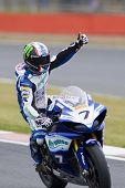27 Sept 2009; Silverstone England: Rider number 7 James Ellison (GBR)  salutes the crowd after winni