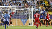 MALAGA, SPAIN. 19/09/2010. Eliseu the Malaga midfielder attempts an overhead kick at goal during the