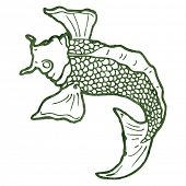 image of koi tattoo  - retro illustration japanese koi carp tattoo - JPG