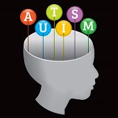 stock photo of aspergers  - A silhouette of a person with the letters A - JPG