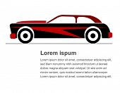 picture of muscle-car  - Vector illustration of Red muscle car icon - JPG