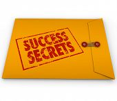 Success Secrets stamped on a yellow envelope to illustrate winning information and advice