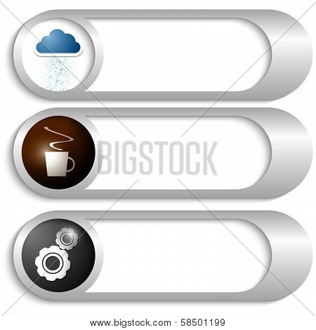 Set Of Three Silver Buttons With Icons