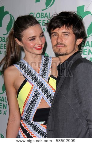 Miranda Kerr, Orlando Bloom at the Global Green USA's 10th Annual Pre-Oscar Party, Avalon, Hollywood, CA 02-20-13