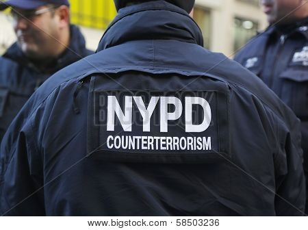 NYPD counter terrorism officers providing security on Times Square during Super Bowl XLVIII week