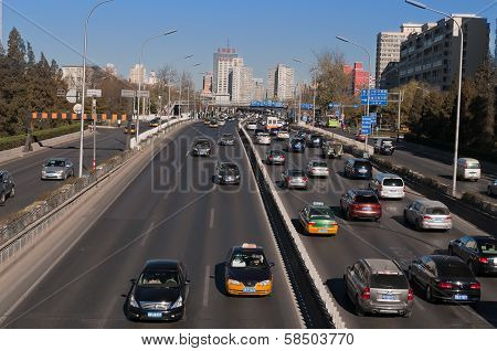 Traffic On 3Rd Ring Road In Beijing. China