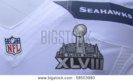 Seattle Seahawks team uniform with Super Bowl XLVIII logo presented during Super Bowl XLVIII week