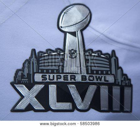Super Bowl XLVIII logo on Seattle Seahawks team uniform presented during Super Bowl XLVIII week