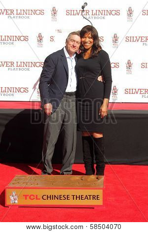 Robert De Niro, Grace Hightower at the Robert De Niro Hand and Foot Print Ceremony, Chinese Theater, Hollywood, CA 02-04-13