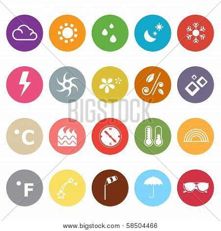 Weather Flat Icons On White Background