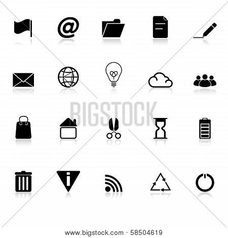 Web And Internet Icons With Reflect On White Background