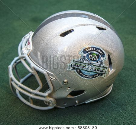 Football helmet with Super Bowl XLVIII NY NJ Host Committee logo presented at Super Bowl XLVIII week