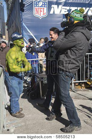 Unidentified Seattle Seahawks fan during interview on Broadway during Super Bowl XLVIII week