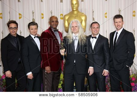 Robert Downey Jr., Jeremy Renner, Samuel L Jackson, Claudio Miranda, Mark Ruffalo and Chris Evans at the 85th Annual Academy Awards Press Room, Dolby Theater, Hollywood, CA 02-24-13