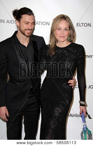 Sharon Stone and Martin Mica at the Elton John Aids Foundation 21st Academy Awards Viewing Party, West Hollywood Park, West Hollywood, CA 02-24-13