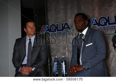 Mark Wahlberg, Sean Combs at an Announce of their New Venture, AQUAhydrate, Private Location, Los Angeles, CA 02-27-13