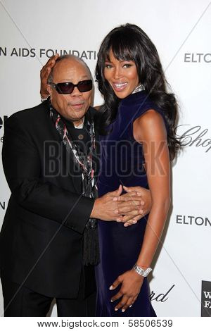 Quincy Jones, Naomi Campbell at the Elton John Aids Foundation 21st Academy Awards Viewing Party, West Hollywood Park, West Hollywood, CA 02-24-13