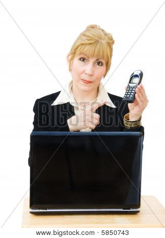 Call us - businesswoman with phone