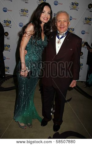 Buzz Aldrin and Carolyn Hollingsworth at the 23rd Annual Night Of 100 Stars Black Tie Dinner Viewing Gala, Beverly Hills Hotel, Beverly Hills, CA 02-24-13