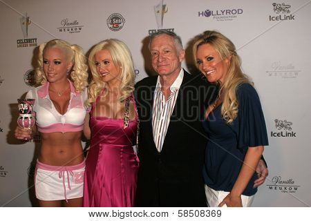 LOS ANGELES - JULY 11: Hugh Hefner, Kendra Wilkinson, Bridget Marquardt, Holly Madison  at