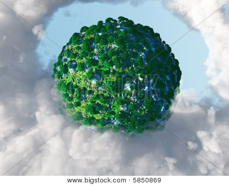 Green planet surrounded by gases