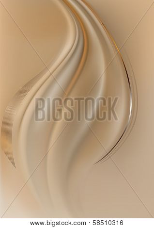 Orange and silver curved lines on light brown mesh background